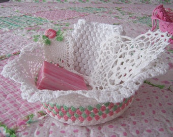 Hand Crocheted Lace Basket ~ Bookmark ~ Heart Doily & Soap Saver/Soap Set YELLOW