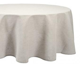 Linen Oval Tablecloth, Light Grey linen table top, Linen table cover, Christmas Tablecloth
