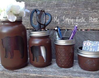 Bear Mason Jar Desk Set-Desk Set-Mason Jar Office-Desk Organizer-Desk Set-Mason Jar Office Set-Office Set-Desk Decor- Desk Set-cabin decor-
