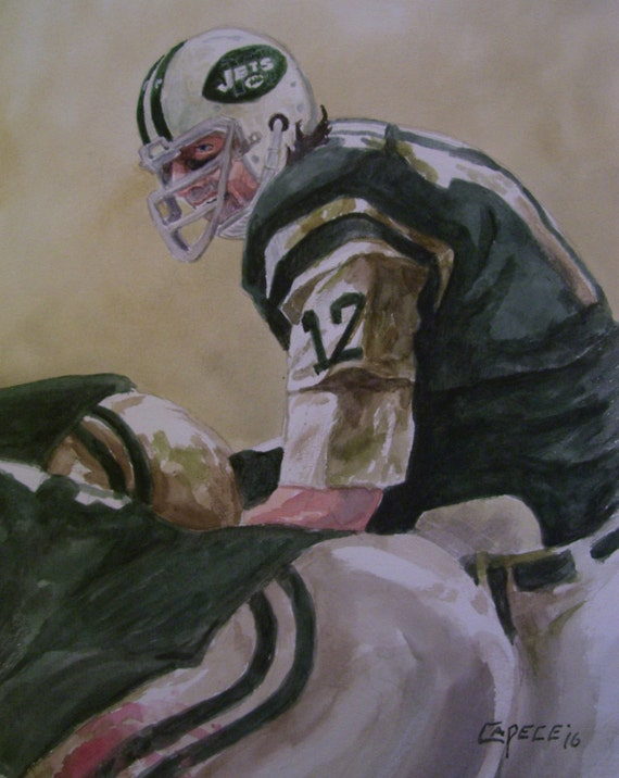 Broadway Joe,Jets' QB,16x20 Original Watercolor,ONE of a KIND, Not a Print,Free Shipping Code SKYE2