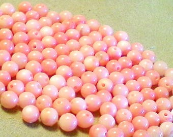 Pink shell beads; angel skin coral COLORED, mother of pearl, round beads, 6mm, 16pcs/2.20.