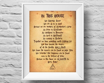 In This House...We Always Do HARRY POTTER unframed art print Typographic poster, inspirational print, wall decor, art. (R&R0151)