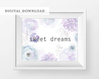 Sweet Dreams Watercolor Floral Printable - Sweet Dreams Nursery Decor - Watercolor Floral Wall Art - Bedroom Decor - Girls Room Decor