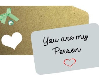 You are my Person Love Note - Printed Aluminium Note,  Love Note, Wallet Note, Wife, Husband, Anniversary Gift, Gift, Love Token, Wallet,