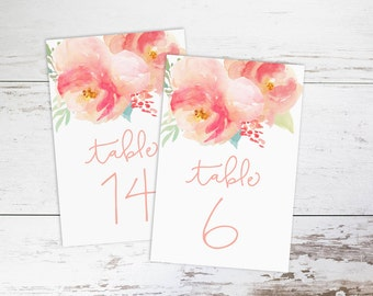 """Watercolor Pink and Blush Peony, Wedding Table Numbers 1-25,  4x6"""" PRINTABLE"""