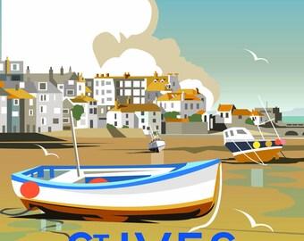 St Ives, Cornwall, Travel Print, Dave Thompson, Illustration, West Coast, England