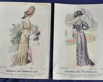 Handcoloured Fashion Print, Journal des Demoiselles, Mode de Paris 1909 x 2