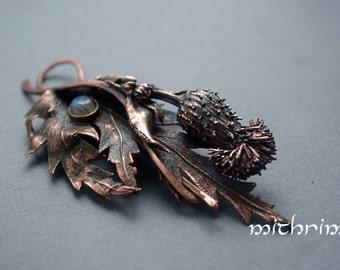 Thistle copper brooch Shawl pin Scarf pin copper brooch  shawlpin Scottish Thistle botanical jewelry Viking fibula Nordic brooch Thistle pin