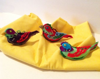 Christmas Ornaments, Bird Ornaments, Set of 3,Christmas Decorations,Christmas Ornaments,Felt Ornaments,Tropical Birds,Decor CTO136A