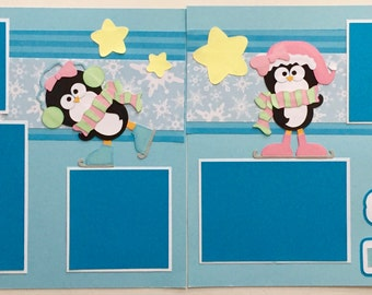 Girl Penguin Winter Snow Day premade scrapbook pages