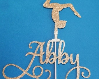 Glitter card stock cake topper, personalized with name, gymnastics figure, topper, party centerpiece, gold, silver, blue, purple and more