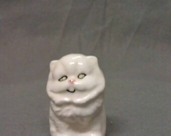 White Cat with Green Eyes and Pink Nose Cat Figurine