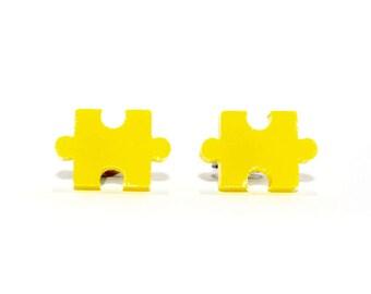 Jigsaw Puzzle Earrings in Red, Yellow or Blue. Jigsaw Earrings, Jigsaw Puzzle Studs, Puzzle Piece Earrings, Novelty Pierced Earrings