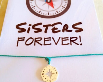 Wanderlust bracelet • Sister Bracelet • Frienship Bracelet • Silver beacelet