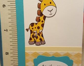 Handmade Giraffe Growing Card