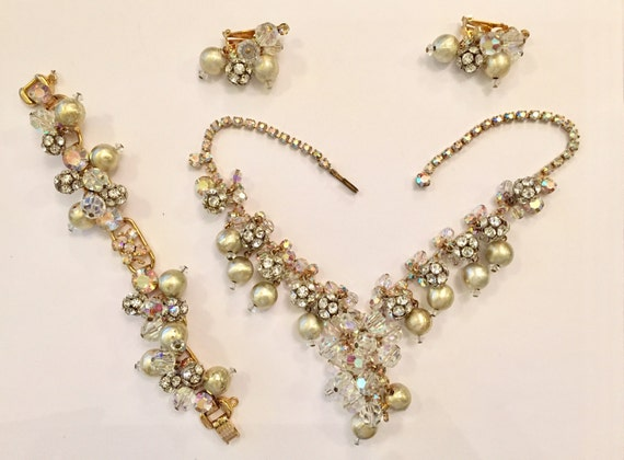 FREE SHIPPING-Rare-Vintage-1960's-Juliana D&E-Cha Cha Bead-Necklace-Bracelet-Earring-Set