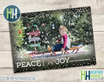 Printable Christmas card, printable family holiday card with photos, personalized, peace love and joy, glitter confetti black and silver