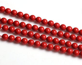 Natural Red Cinnabar Beads, Round 4 6 8 10 12 14 16 18 20mm Semi Precious Stone Loose Beads for Necklace Bracelet Making
