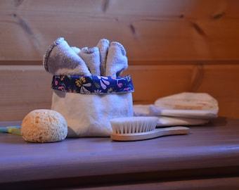 Small basket cotton organic blue, cream reversible hemp, organic, empty storage Pocket organic hemp, toiletries, baby basket storage