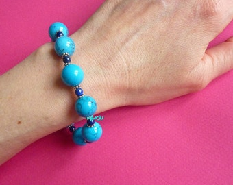 Bracelet with lapis lazuli and turquoise beads