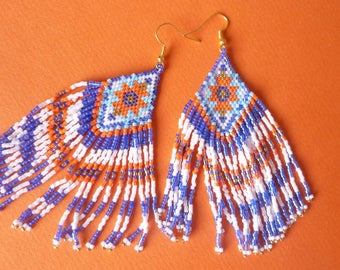 Woven seed beads earrings
