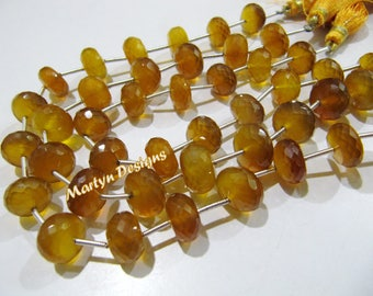 """AAA Quality Citrine Color Chalcedony Beads, Rondelle Faceted 10 to 12mm Size Beads, Sold per strand of 9"""" long, Yellow Color Gemstone Beads"""