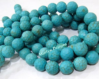 AAA Quality Turquoise Beads / Round faceted Beads Size 15mm / Sold Per Strand of 15 Inches Long/25 Beads each Strand/Howlite  Beads Far Size