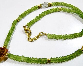 AAA Quality Natural Peridot and Briolette Citrine Beads Necklace , Gold Finding , Handmade Beaded Necklace 18 inch long- Gemstone Jewelry.