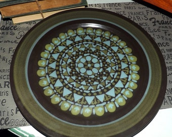 Vintage (1980s) Mikasa Majorca Intaglio E2801 | 7501 chop plate | platter. Brown, green Band, green, turquoise, gray shapes. Made in Japan