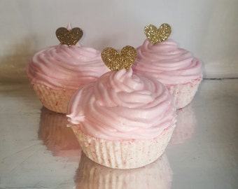 Pink vanilla scented cupcake bath bomb- pink princess vanilla cupcake bath fizzies- vanilla cupcake scented bath bombs (sold individually)
