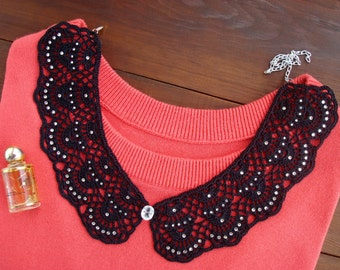 Black crochet collar, Detachable peter pan collar necklace, Hand made lace collar