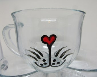 Mug Kitty Cat Hand Painted Clear Glass  With Heart on Handle Gift for Child Home Decor Kitchen Decor