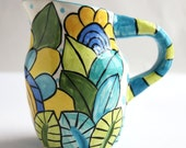 Pitcher - Handmade Earthenware Pottery Pitcher made by Kristin Nicholas - Cobalt Blue, Yellow, Gold, Turquoise, Teal, Chartreuse