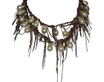 RODRIGO OTAZU Man Made Pearl and Copper Chain Drop Necklace