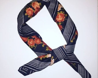 vintage silk scarf square  - brown with orange and pink rose design