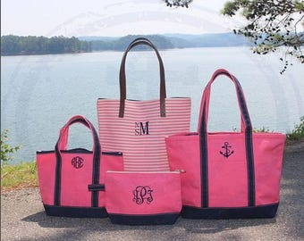 Monogrammed Boat Tote, Monogrammed Striped Tote, Monogrammed Cosmetic Bag, Coral Beach tote, Coral cosmetic Bag