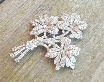 Vintage Antique Art Deco Pot Metal Pave Crystal Rhinestone Triple Flower Bouquet Floral Large Statement Brooch Pin Bridal Mother's Day Gift