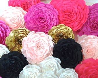 12 large Paper Flowers Giant flowers bridal kate baby shower spade wedding backdrop Paper wall arch Gatsby hot pink gold White black nursery