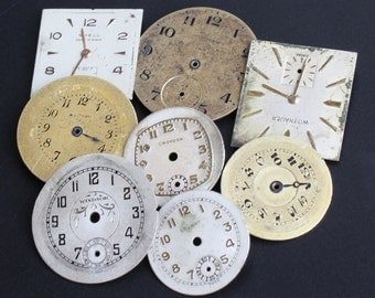 8 Round Square Watch Dials Faces for your steampunk or altered art projects (#WF34)