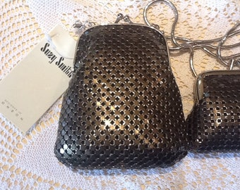 Retro 1995 -1996 Suzy Smith British Glam charcoal mesh shoulder bag and coin purse set,brand new in box with tags,London Studios