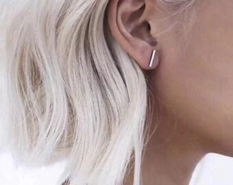 Punk Black Gold Silver Earrings Simple T Bar Earring Women Girl Ear Stud Fine Jewelry Brincos Bijoux Femme jewellery