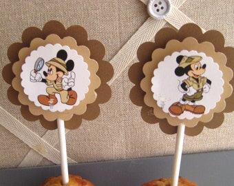 Mickey on Safari Cupcake Toppers - set of 12