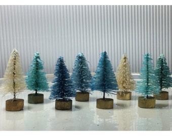 Winter Blues miniature sisal tree set