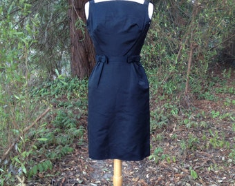Vintage 60's Black Dress * Miss Bergdorf *  Sleeveless * Size Small *