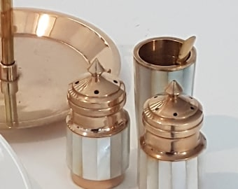 Mother-Of-Pearl Salt And Pepper Shakers and mustard pot, Iridescent Mother Of Pearl condiment set, Vintage salt and pepper shaker MOP