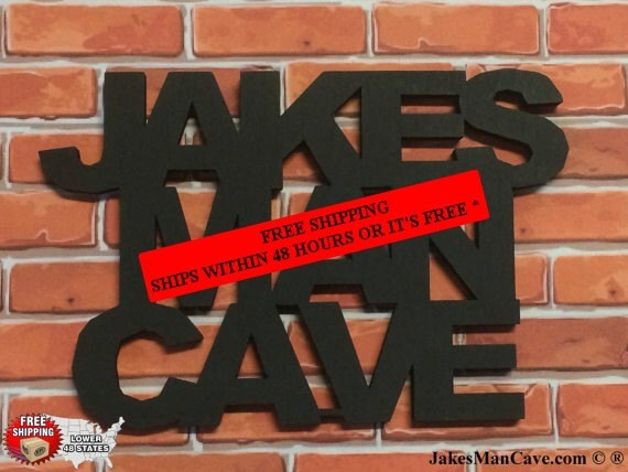 Personalized Man Cave Signs Free Shipping : Personalized man cave sign wall decor by jakesmancave