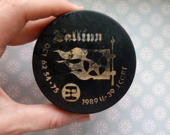 Soviet vintage hockey puck Tallinn 1989, hockey puck, hockey gifts, russian hockey, soviet sport