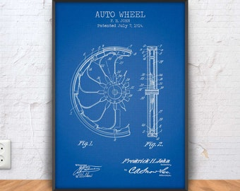 AUTO WHEEL patent print, auto wheel poster, auto wheel blueprint, auto wheel illustration, automobile art, automotive decor, #1305