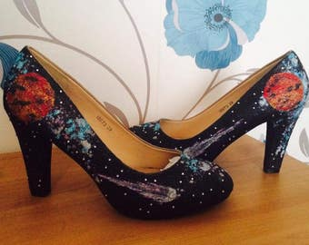 Space heels - Court shoes - Planets - Themed Bridal Shoes - Bridesmaid - Wedding - Prom - Customised Shoes - Glitter Shoes - UK Size 3-8