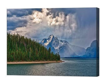 Grand Teton National Park Light on Moran Stretched Canvas Print, Modern Wall Art Featuring Fine Art Nature Photography From The Tetons
